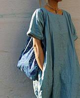 Женское льняное платье бочка, любой цвет льна в ассортименте, фото 1