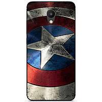 Силиконовый бампер чехол для Meizu M6s с рисунком Капитан Америка