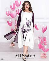 Платье двойка летнее лён-вискоза 50,52,54,56