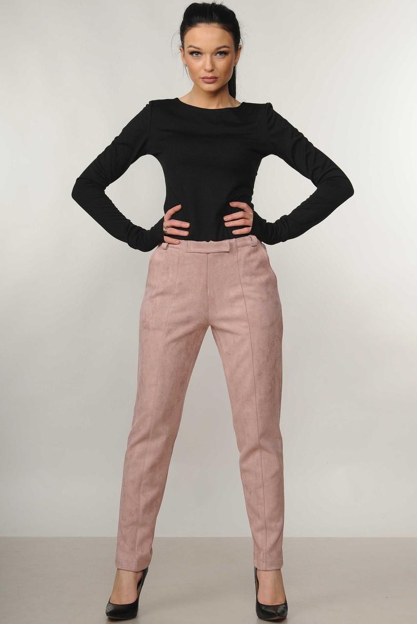 Стильные зауженные замшевые брюки Roy (42–52р) в расцветках