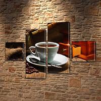 Модульная картина Чашка ароматного кофе, на ПВХ ткани, 50x80 см, (18x18-2/45х18-2)