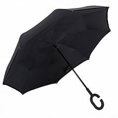 Зонт Up-Brella Чорний унісекс однотонний вітрозахисний розумний парасолька зворотного складання
