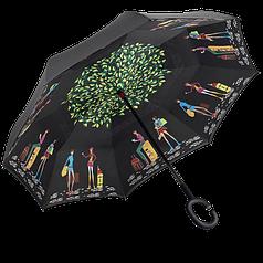 Зонт Lesko Up-Brella навпаки колір Picasso зворотне додавання парасолька-тростина вітрозахисний подвійний купол