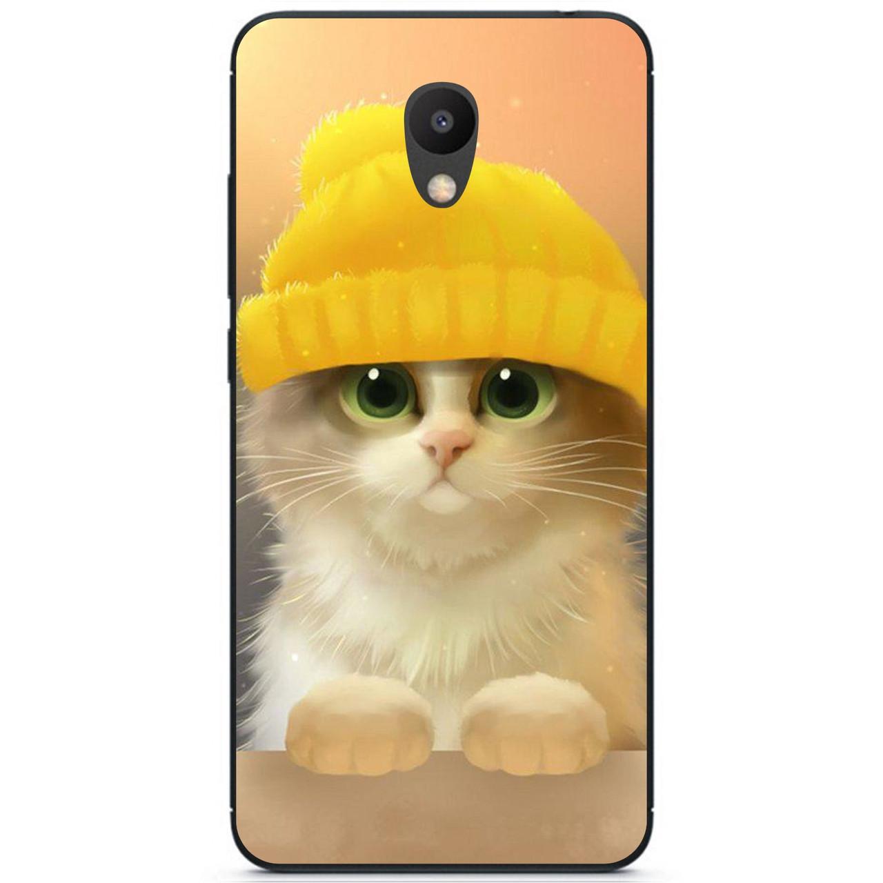 Силиконовый бампер чехол для Meizu M6s с рисунком Котик в шапке