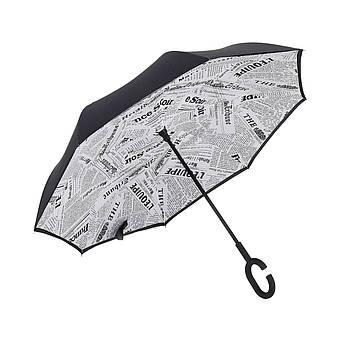 Зонт Up-Brella Газета Белая двойной зонт обратное складывание длинная ручка прочная ткань