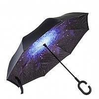 ✮Зонт Up-Brella Звёздное небо удобный складывающийся зонтик в обратном направлении длинная ручка антизонт хит