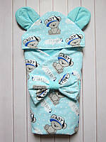 """Летний конверт-одеяло на выписку """"It's a boy"""" бирюзовый 75*75 см"""