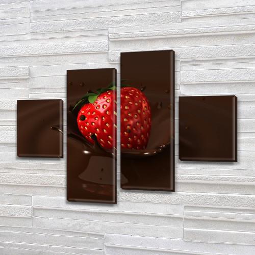 Модульная картина Шоколад и клубника, на ПВХ ткани, 65x80 см, (25x18-2/55х18-2)