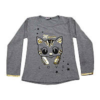 Кофта для девочки  (4-7 лет) рисунок - котик, с жемчугом