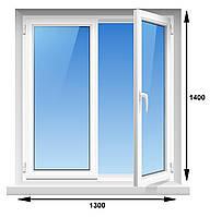Пластиковое окно, Kommerling 70GT plus 70 мм, 5-этажка Хрущевка 1300х1400 мм энергосберегающий стеклопакет, фото 1