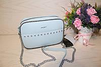 Голубая женская сумочка с цепочкой на одно отделение