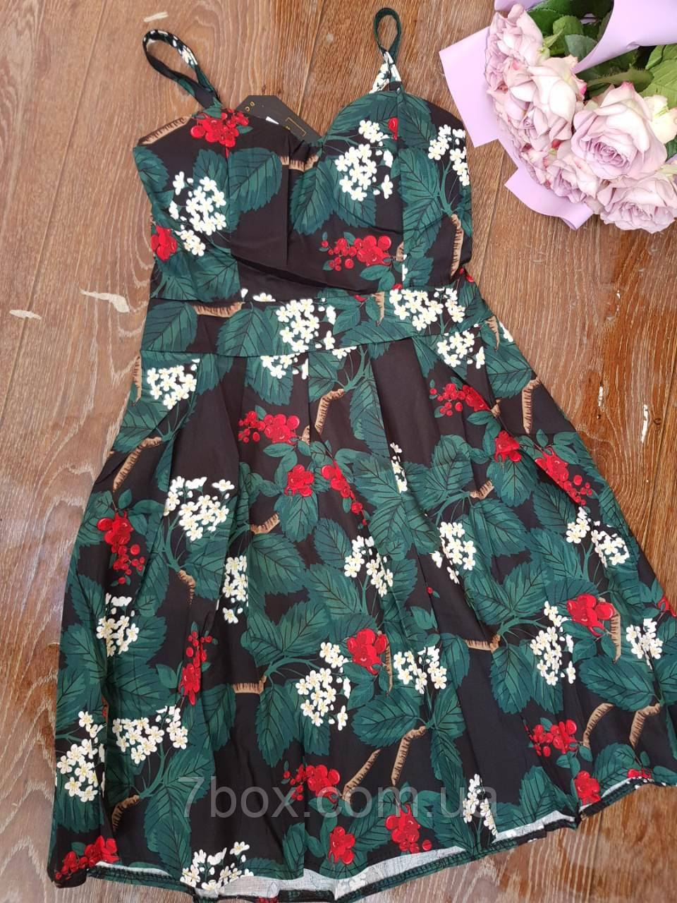 Женское платье сарафан лето с плотным лифом. Норма 44-46 Зеленый