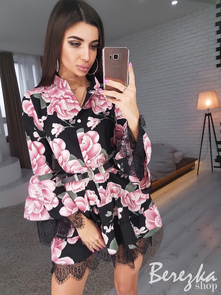 6a9de70532c Красивое цветочное платье с кружевом АМН-0319.080  продажа