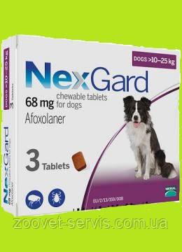 Жевательные таблетки Нексгард от блох и клещей для собак от 10 до 25 кг, фото 2