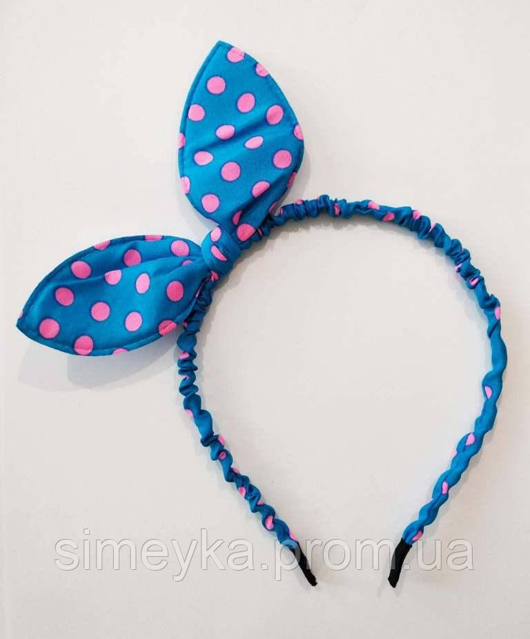 "Обруч для волосся ""солоха"" в горошок металевий. Синій в яскраво-рожеві горохи"