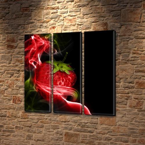 Модульная триптих картина Клубничная абстракция, на ПВХ ткани, 65x65 см, (65x20-3)