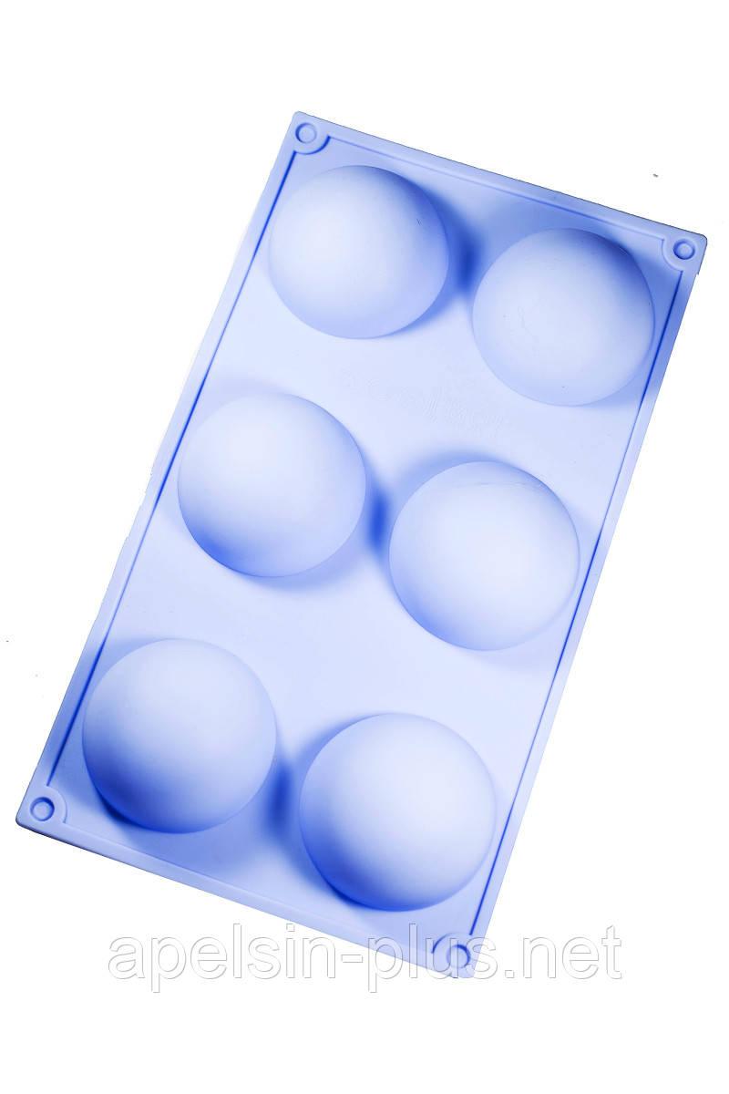 Силиконовая форма для выпечки Полусферы на  6 ячеек (большие) 6,8 см