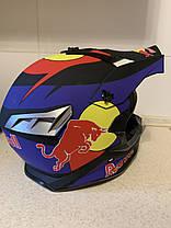 Черный матовый Кроссовый мото шлем Redbull с изгибом под шею  (эндуро, даунхил) мотошлем с козырьком под очки, фото 2