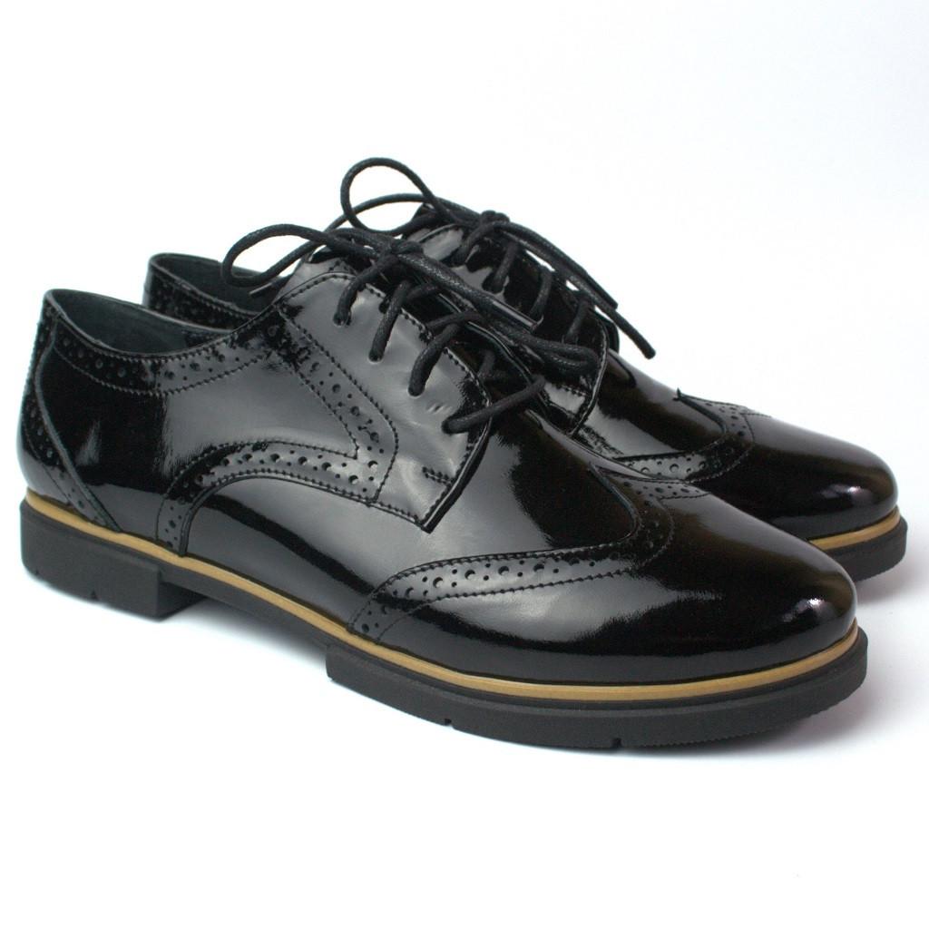 Туфлі-оксфорди шкіра лак жіноче взуття великих розмірів Sei un mio Black Lack Leather BS by Rosso Avangard