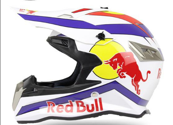 Белый Кроссовый мото шлем Red bull с изгибом под шею  (эндуро, даунхил)