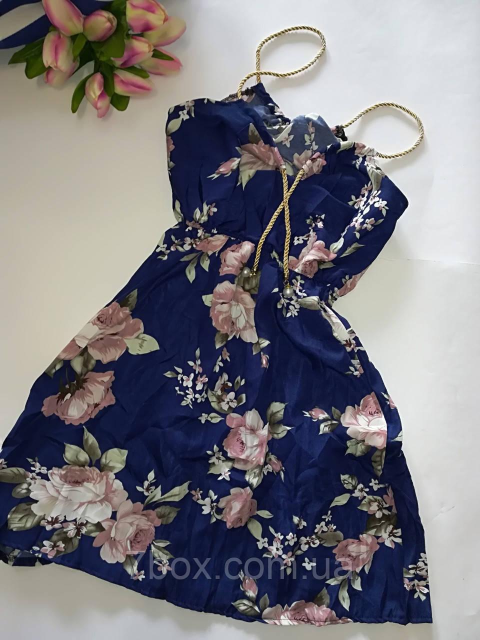 Женское платье сарафан лето. Норма 44-46 розы на синем