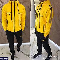 Мужской стильный весенне-осенний спортивный костюм,кофта с капюшоном,штаны манжете (двухнить турецкая) 4 цвета