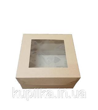 Коробки для кексов (4шт)170*170*90 с окошком бурая