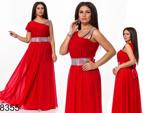 Выпускное платье в пол со стразами (красный) 828355