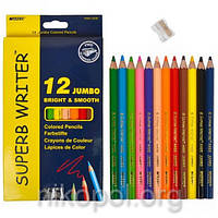 Набор толстых цветных карандашей MARCO Superb Writer 4400-12CB Jumbo, 12 цветов с точилкой