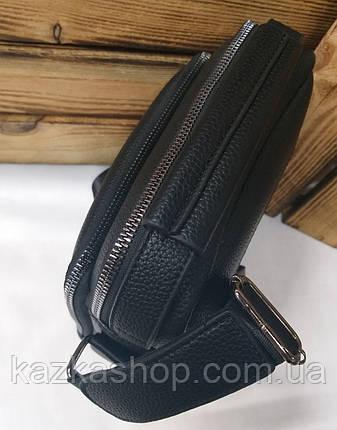 Мужская сумка Polo черного цвета на один отдел, без клапана, два ремешка, несъемный регулируемый ремень, фото 2