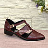 Туфли женские стильные на низком ходу, натуральная бордовая кожа., фото 2