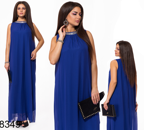 Вечернее платье без рукавов из шифона (электрик) 828349