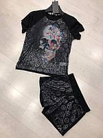 Яскравий, красивий і модний жіночий літній костюмчик з малюнком, FL 1126