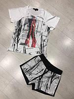 Яскравий, красивий і модний жіночий літній костюмчик з малюнком, FL 1127