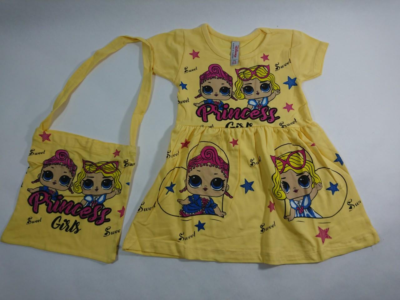 """Детское платье, летнее  с сумочкой  """" Princess""""   1-10"""
