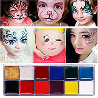 """12 цветов краска боди-арт для лица маслом макияж """"Sua Mei"""" make up 12*2,5 гр"""
