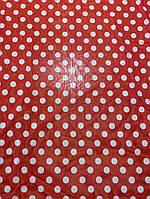 Ткань красный шифон в горошек, фото 1