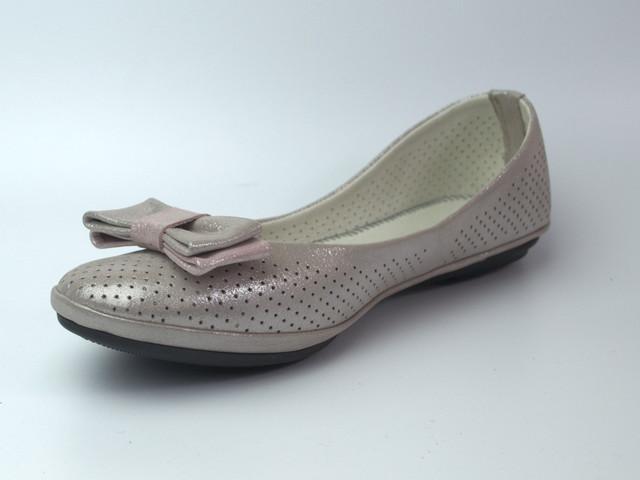 Балетки пастельно розовые летние женская обувь больших размеров Scarbat V Pastel Pink Perl Perf Leather BS