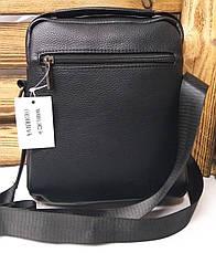 Мужская сумка Polo черного цвета на один отдел,  два ремешка, несъемный регулируемый ремень, фото 3