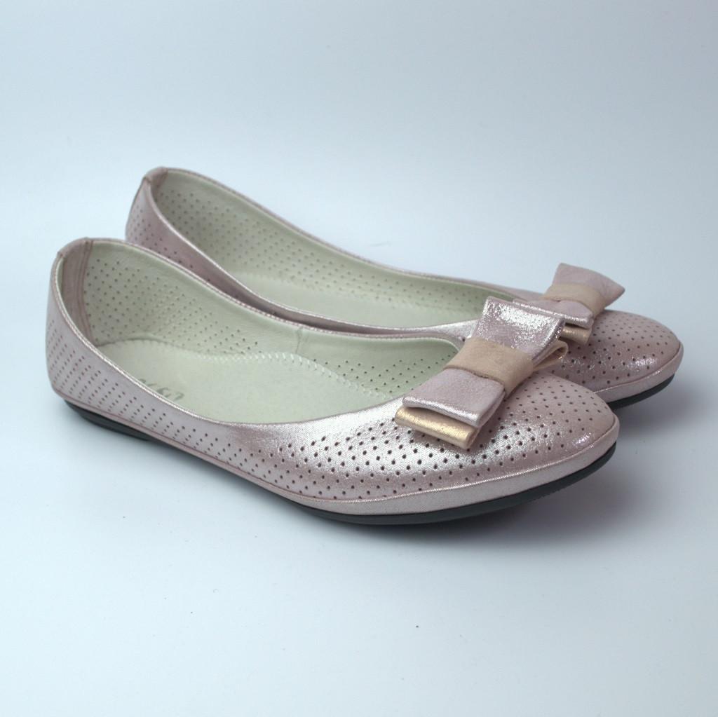 Балетки розовые летние кожаные женская обувь больших размеров Scarbat V Purple Perl Perf BS Rosso Avangard