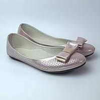 Балетки розовые летние кожаные женская обувь больших размеров Scarbat V Purple Perl Perf BS Rosso Avangard, фото 1