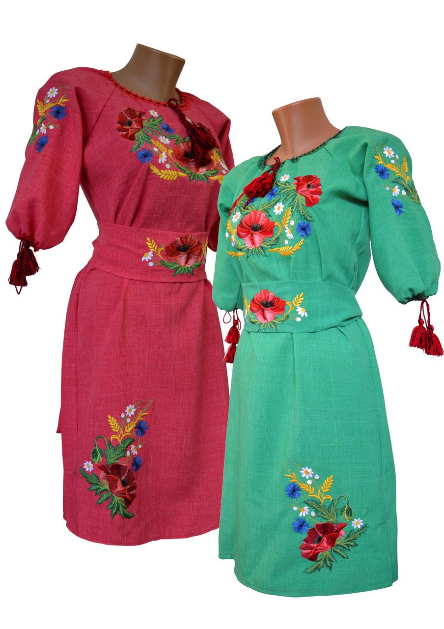 Вишита жіноча сукня на кольоровому льоні із рослинним орнаментом «Мак-волошка»