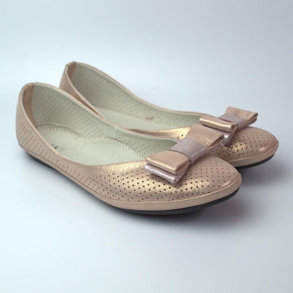 Пудровые балетки летние кожаные женская обувь больших размеров Scarbat V Saffron Perl Perf BS Rosso Avangard