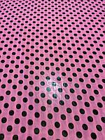 Ткань розовый шифон в горошек