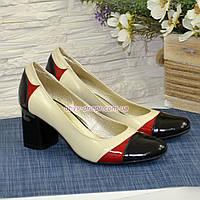 Женские кожаные классические туфли на устойчивом каблуке, фото 1