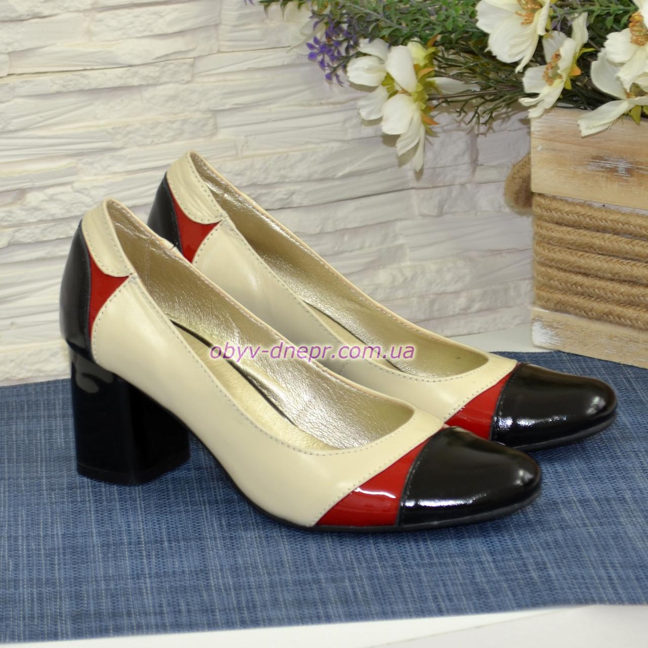 Женские кожаные классические туфли на устойчивом каблуке
