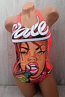 Стильный молодежный слитный купальник с принтом девушка, 36-42 размер, ассортимент цветов