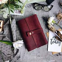 Кожаный блокнот Бордо датированный планер ежедневник органайзер А5  240страниц