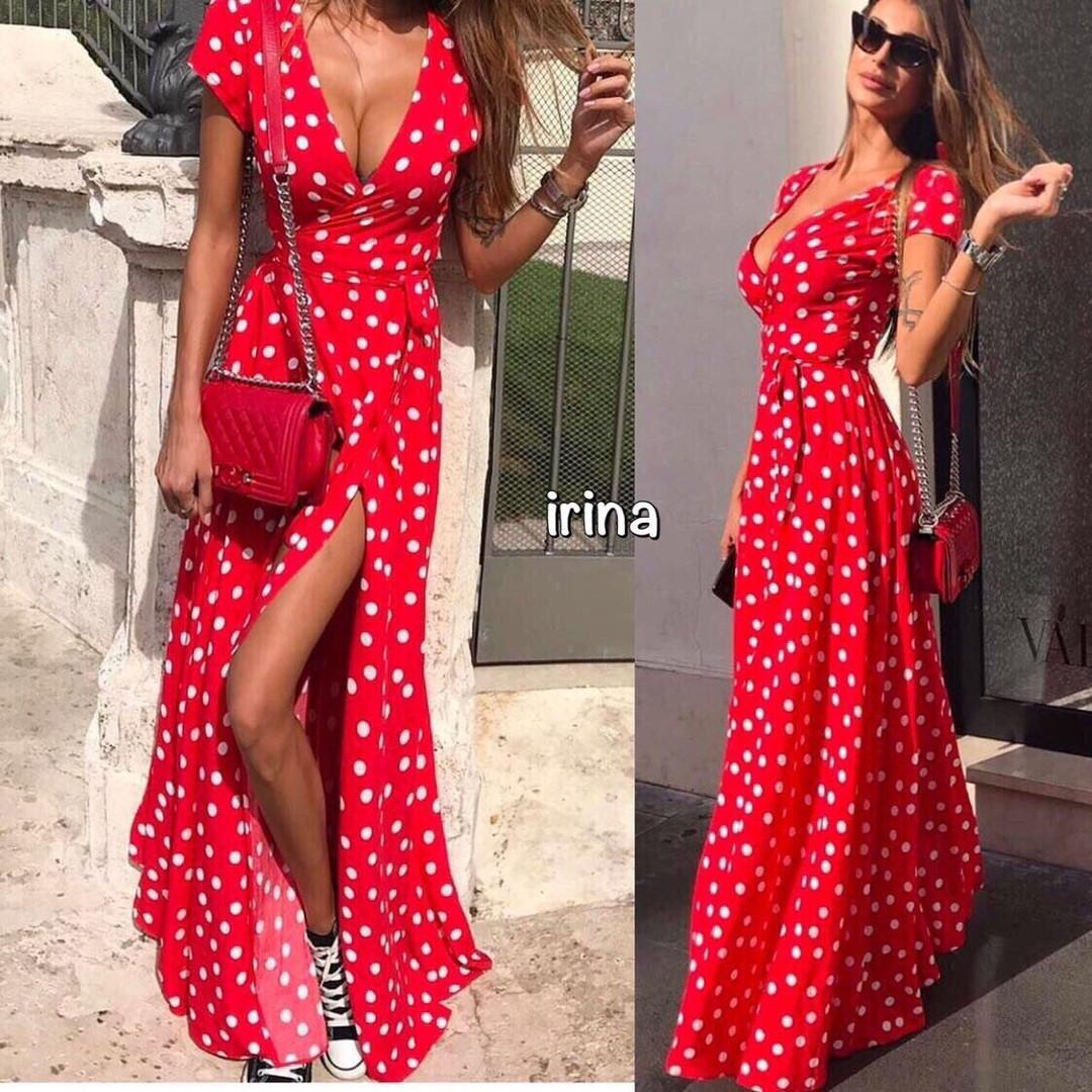 5ca92e79d47 Женское длинное платье в горох Тренд 2019