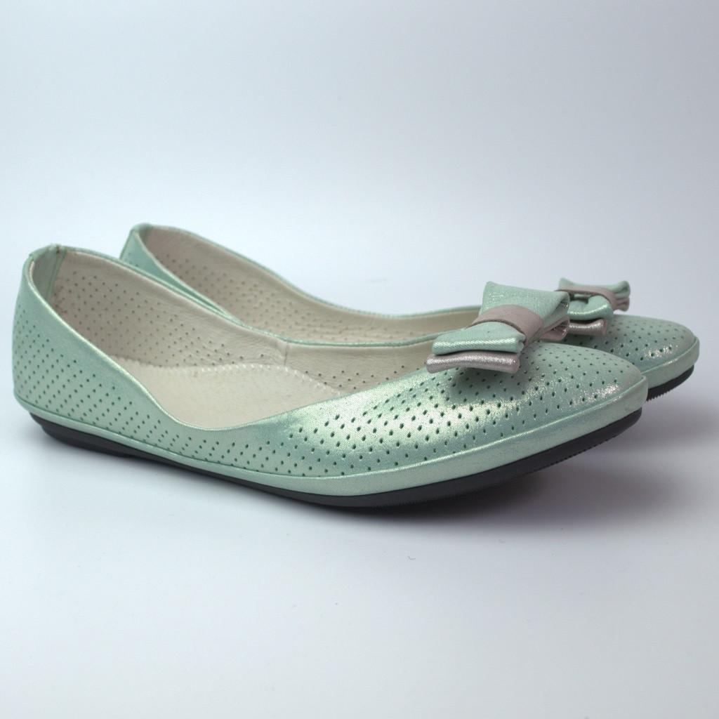 Балетки бірюзові літні шкіряні жіноче взуття великих розмірів Scarbat V Turquois Perl Perf BS Rosso Avangard